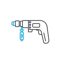 hammer drill thin line stroke icon hammer vector image