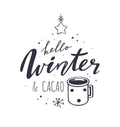 hello winter and cacao handwritten vector image