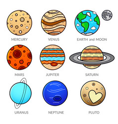 Icons planet of solar system vector