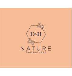 Initial dh letters floral frames botanical vector