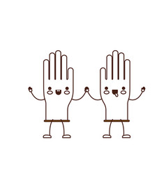 kawaii cartoon pair gloves holding hands in brown vector image