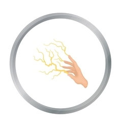 Lightning spell icon in cartoon style isolated on vector