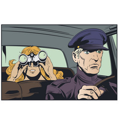 Limousine driver and girl with binoculars vector