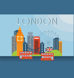 London travel landmarks city architecture vector