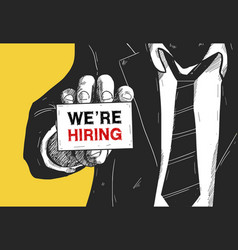 Man show card we are hiring title recruitment vector