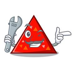 Mechanic triangel mascot cartoon style vector