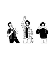 Men gesture with thumbs up hand upclenched fists vector