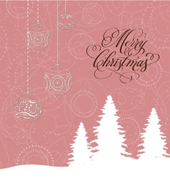 Merry christmas card with christmas trees and vector