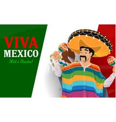 mexican musician with sombrero maracas and flag vector image