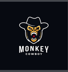 monkey cowboy mascot logo vector image