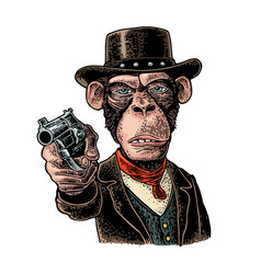 Monkey gentleman holding revolver and dressed hat vector