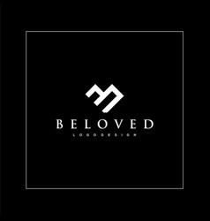 Monogram logo design b and love vector