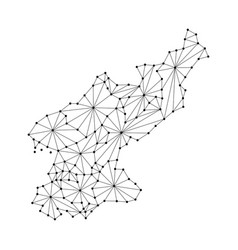 north korea map of polygonal mosaic lines network vector image