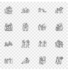 Older persons icon set simple style vector