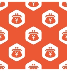Orange hexagon yen purse pattern vector