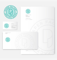 p monogram paper mill logo factory identity vector image