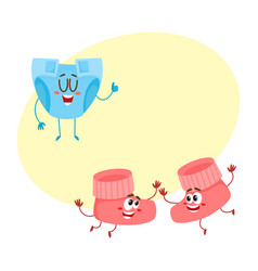 Pair of funny baby booty sock characters playing vector