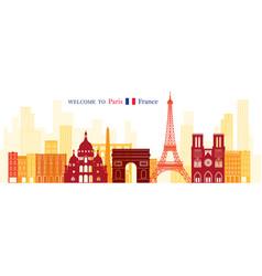 paris france landmarks skyline shape and vector image