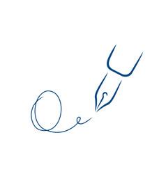 Pen icon signature in style brush strokes vector