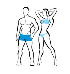 perfect body of man and woman silhouette fitness vector image