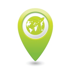 Plane AND globe GREEN map pointer vector