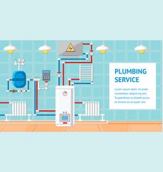 Plumbing service flat design vector