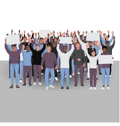 protesting people with hands up public protest vector image