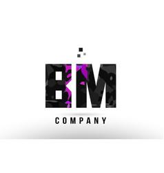 Purple black alphabet letter bm b m logo vector