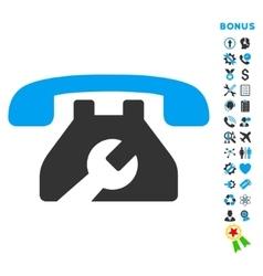 Service Phone Flat Icon with Bonus vector
