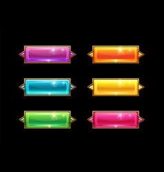 set colorful long crystal horizontal buttons with vector image