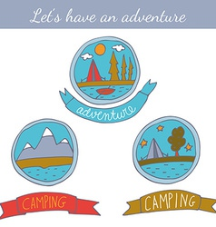 Set doodle camping badges vector
