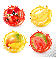Set fruit juice splash strawberryblueberry vector
