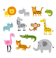 set funny cute african animals vector image