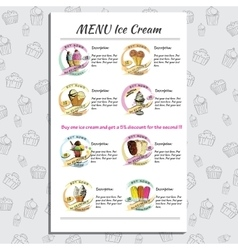 Set Ice Cream Menu for Cafe and Restaurant with vector image