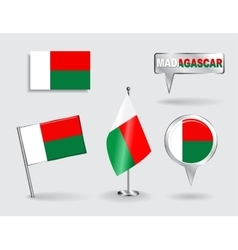 Set of Madagascar pin icon and map pointer flags vector