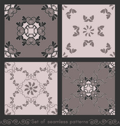 Set seamless patterns hearts and birds vector