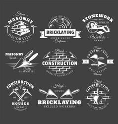 set vintage construction labels vector image