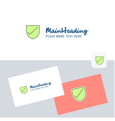 Sheild logotype with business card template vector
