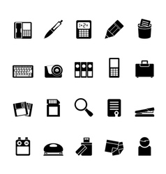 Silhouette office tools icons vector