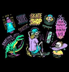 skateboard shop stickers set dinosaur vector image