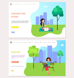 Spending time in park and free wifi zone woman vector