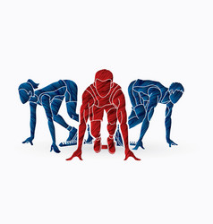 Start running sprinter prepare running action vector