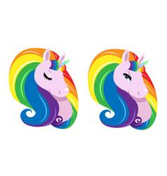 Sticker with raibow unicorn vector