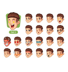 The first set of male facial emotions vector