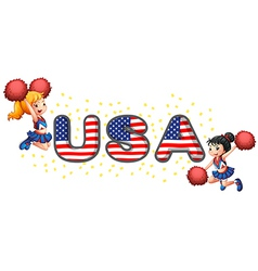The USA cheerdancers vector