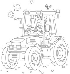 Tractor driver with a small dog vector