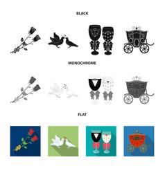 wedding and attributes cartoon flatoutlineblack vector image