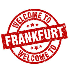 Welcome to frankfurt red stamp vector