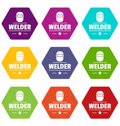 welder mask icons set 9 vector image