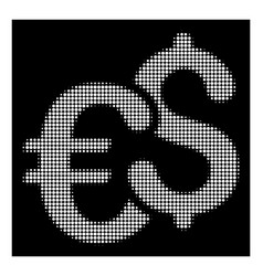 white halftone euro and dollar currency icon vector image